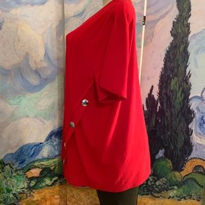 89th & Madison Tops - 89th & Madison Red Button Side Detail Tunic Top